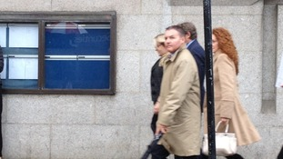 Former News International chief executive Rebekah Brooks (pictured far right) arrives at court today.