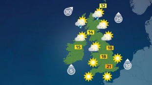 Thursday will see highs of 21 Celsius (70F).
