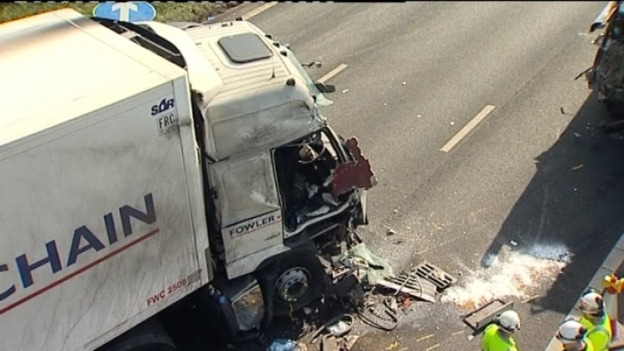 The damage caused to the cab of the lorry