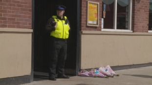 A policeman outside the Prince Edwards pub in South Shields.