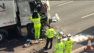 Fuel spillage can be seen on the carriageway