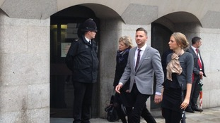 Private investigator Glenn Mulcaire pictured arriving at the Oly Bailey today.