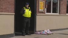 Police officer outside the Prince Edwards pub in South Shields.