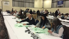 Votes being counted at the Peterborough Arena in the city council election.
