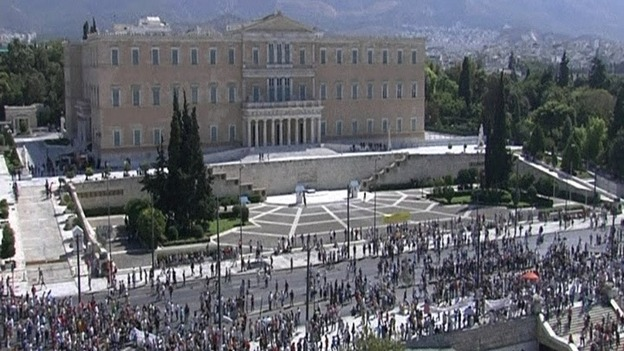 Protesters outside Athens' main government building.
