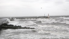 Rough seas at Amble pier
