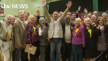 Cheers from Lib Dems as they hold Eastleigh