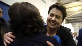 Ruth Davidson celebrates after winning a seat in Edinburgh Central
