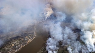 A Canadian Joint Operations Command aerial photo shows wildfires near Fort McMurray
