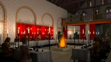A digital reconstruction of Norwich Castle's Great Hall as it may have looked in 1121.