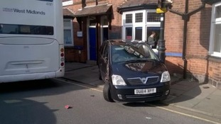 The car that hit the lamp post.