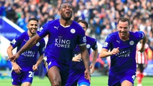 Wes Morgan celebrates scoring earlier this season