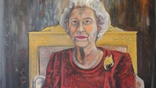 Dan Llywelyn Hall spent three hours with the Queen painting the portrait