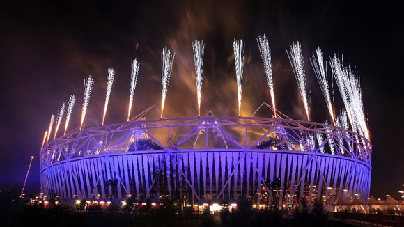 The Olympic stadium during the closing ceremony