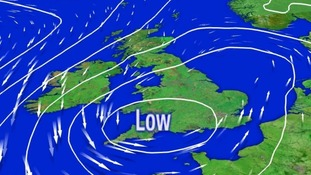 A deep area of low pressure moved over the UK on Saturday