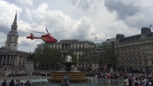 Air ambulance lands in Trafalgar Square after woman hit by bus