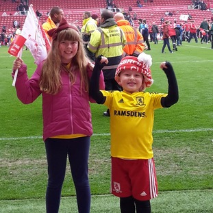 Harry and Holly Griffin celebrating at The Riverside