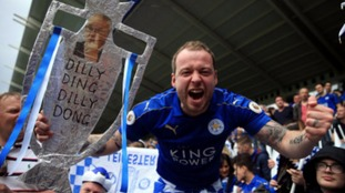A Leicester City fan at the King Power Stadium.