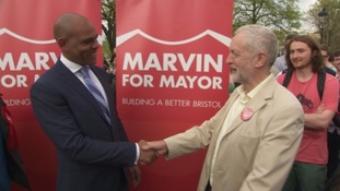 Jeremy Corbyn celebrates with new Bristol Mayor