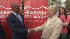Marvin Rees celebrating with Jeremy Corbyn