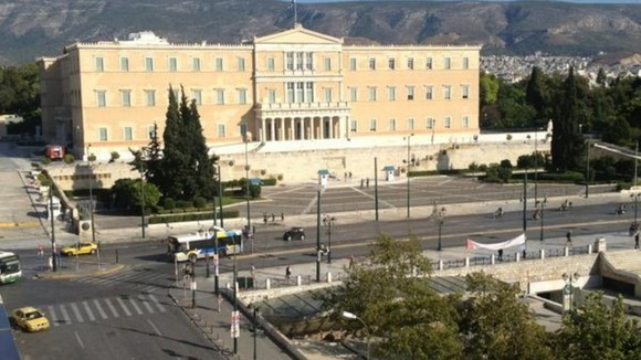 Syntagma square in front of the Greek Parliament, where thousands gathered earlier today.