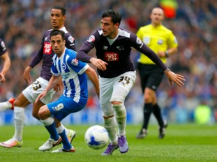 George Thorne in action for Derby at Brighton last weekend