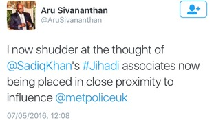 The tweet was posted as Sadiq Khan was announced the winner of the mayoral election