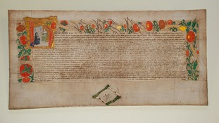 A charter from Henry VIII on display at the exhibition