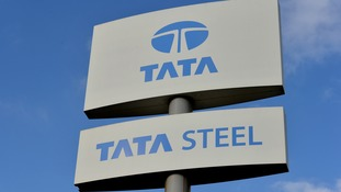 A view of a Tata Steel sign