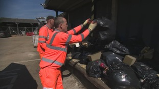 Some of the rubbish being collected on the A14 and A12
