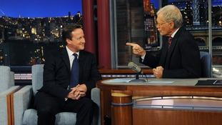 David Cameron appearing on the Late Show with David Letterman