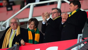 Ed Balls with majority shareholders Delia Smith and Michael Wynn Jones at Norwich City's match against Stoke.
