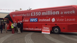 The Vote Leave battle bus unveiled in Cornwall