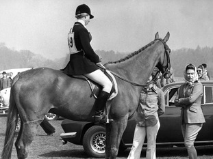 The Queen talks to Princess Anne who was competing in the Windsor Horse Trials in 1974