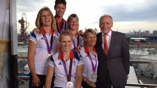 Alastair Stewart with Zara Tindall and her Olympic silver medal in 2012.