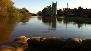 Cawood Church is protected by the flood defences and sandbags