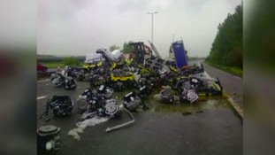 Overturned lorry's contents
