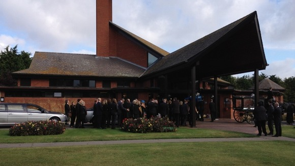 Mourners gather at Weeley Crematorium