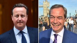 David Cameron and Nigel Farage will take questions from a studio audience.
