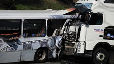 The lorry crashed into the bus in thick fog this morning
