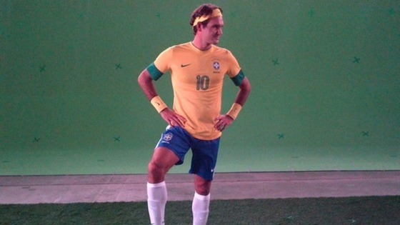 The 17-time Grand Slam champion tries on a Brazil kit for size.