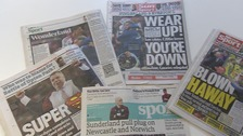 Many of the back pages carried news of Norwich City's relegation.