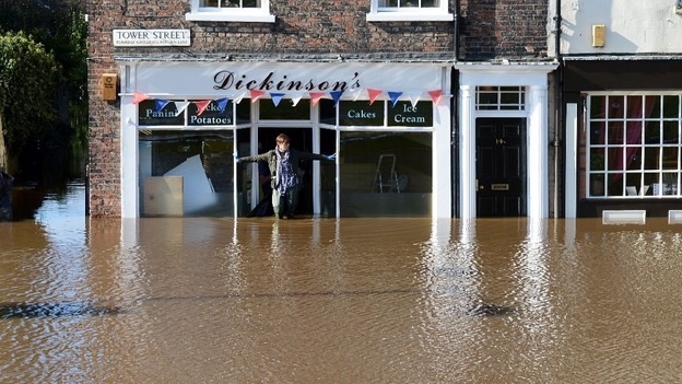 Flooded city centre shops in York
