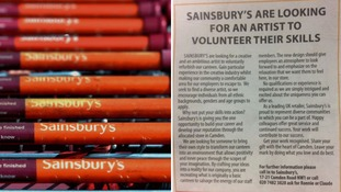 Sainsbury's apologises over canteen artist 'volunteer advert'
