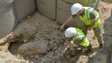 The British Army get up close to the WWII bomb