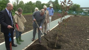 The Prince of Wales planted a tree as he visited housing developments in Dorchester
