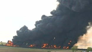 Thousands evacuated from their homes as toxic illegal tyre dump fire billows smoke into sky
