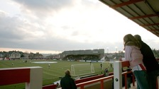 View of Exeter City's stadium, St James Park