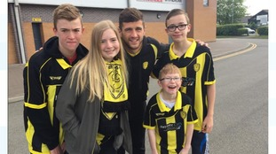 Burton Albion fans with captain