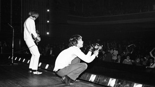Mick Jagger and guitarist Brian Jones performing at the Adelphi Theatre, Dublin in 1965